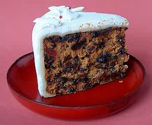 フルーツケーキ(クリスマスケーキ)のスライスしたところ